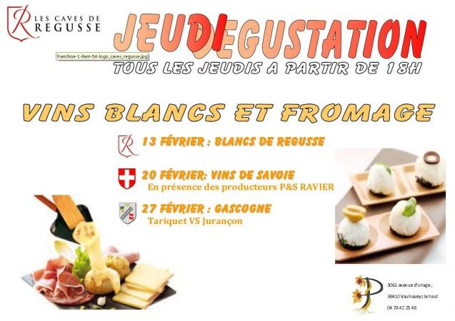 dégustations de février sur le thème vins blancs et fromages