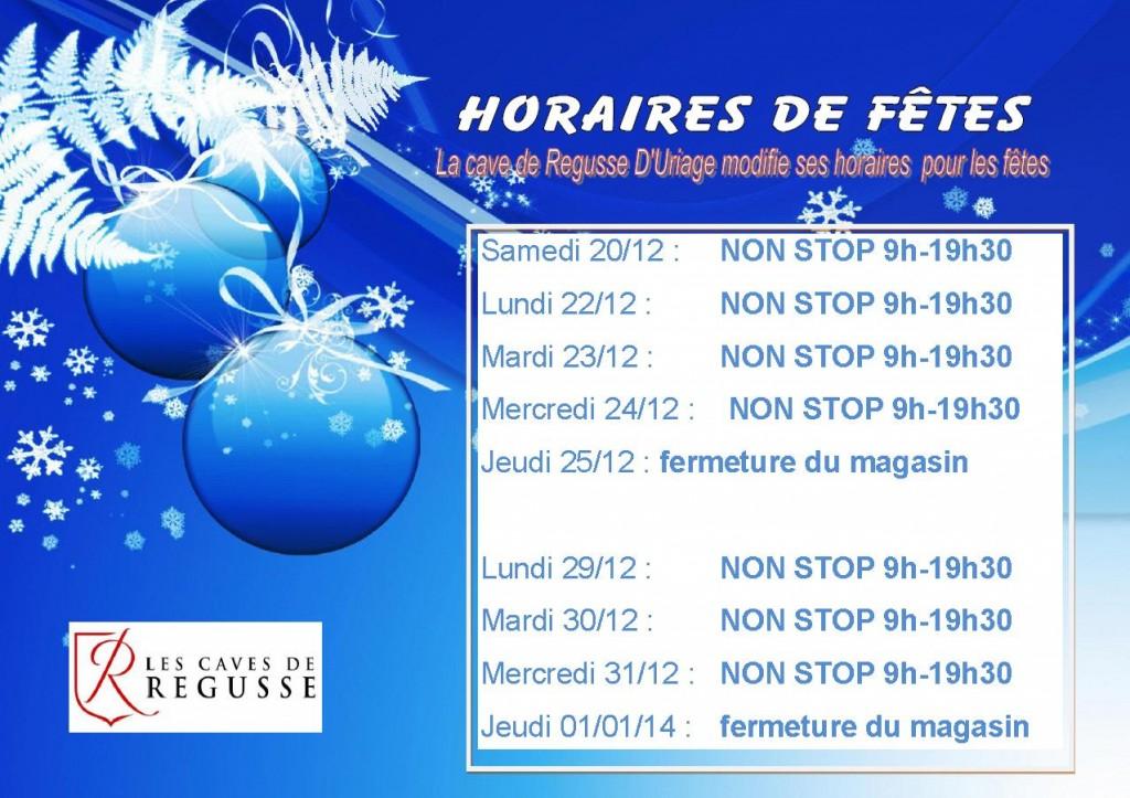 horaires d'ouverture décembre