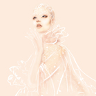 Alexander McQueen, illustration by Martine Brand