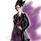 John Galliano, illustration by Martine Brand