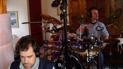 """Pierre Gac et Gurvan Mével (Enregistrement des albums """"La Barque ailée et l'Albatros"""")"""