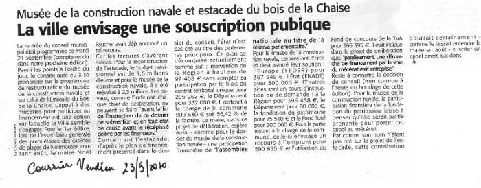 Courrier vendéen du 23 septembre 2010
